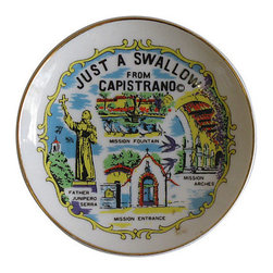 Consigned - Vintage San Juan Capistrano Souvenir Plate - Petite wall plate with hanger. Souvenir from San Juan Capistrano, CA.  Quirky addition to any plate collection or eclectic decor.