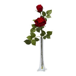 Roses with Tall Bud Vase Silk Flower Arrangement - The very definition of elegance, the Rose stands head and shoulders above all other flowers. And standing tall and elegant is what this Rose does best. A single stem splits into two blooms - one full, one budding - to give a classy radiance that is unequaled. With lush leaves and a tall vase with faux water, this makes the perfect gift for that someone special. Height= 24 in x Width= 9 in x Depth= 7 in
