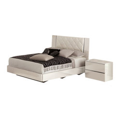 JNM Furniture - Stella Modern Italian Upholstered Bed in White Finish, King Size - The gorgeous play of white eco leather & white  lacquer on the headboard, lightly adorned with stainless accents make for a clean sophisticated finish.