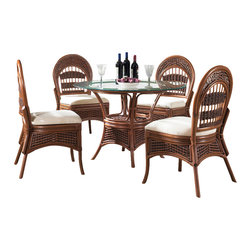 Wicker Paradise - Rattan Dining Set: Tigre Bay Dining Set of 5 - Our best-selling rattan dining set is always a great choice if you are looking for rattan with style and of the highest quality. Warm brown finishes the mix of rattan and wicker in this design.   Tigre Bay Rattan Dining Set Benefits:  -This Rattan Dining Set is perfect for smaller scaled areas in your home.  -Each Dining Chair is extremely strong & you will enjoy its comfort.  -You can choose from over 100 premium quality fabrics for your rattan dining set cushions.  -Unique Style available exclusively for you at Wicker Paradise