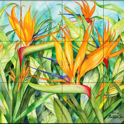 The Tile Mural Store (USA) - Tile Mural - Birds Of Paradise  - Kitchen Backsplash Ideas - This beautiful artwork by Kathleen Parr McKenna has been digitally reproduced for tiles and depicts a closeup of a bird of paradise.  With our enormous selection of tile murals of plants and flowers you can bring your kitchen backsplash tile project to life. A decorative tile mural with plants and flowers is an impressive kitchen backsplash idea and decorative flower tiles also work great in the bathroom. Add splashes of color and life to your tile project with images of flowers on tiles and tiles with pictures of plants.