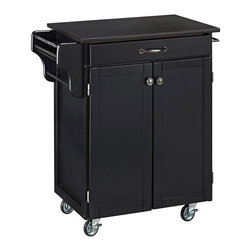 HomeStyles - Wood Kitchen Cart with Granite Top - Black is always in style and this kitchen cart is no exception! With its beautiful, glossy black granite top and black base cabinet, this piece features easy mobility, adequate storage, and a great way to prepare your food! * Black granite top. Solid wood construction. Utility drawer. Metal drawer slides. Two cabinet doors open to storage with adjustable shelf inside. Handy spice rack. Two towel bars. Heavy duty locking rubber casters for easy mobility and safety. Two of the casters lock. Clear coat finish helping to protect against wear from normal use. Made from Asian hardwood and steel. Black finish. Made in Thailand. Assembly required. 32.5 in. L x 18.75 in. W x 35.5 in. H