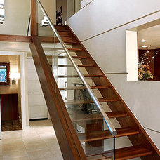Contemporary Staircase by Fortune   Design and Drapery