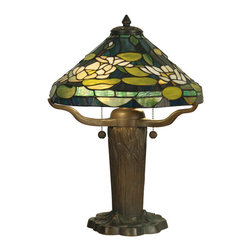 Dale Tiffany - Dale Tiffany TT10032 Water Lily Tiffany Replica 2-Light Table Lamps - Water Lily Tiffany Replica Table Lamp