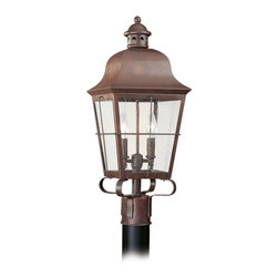 Sea Gull Lighting - Sea Gull Lighting Chatham Traditional Outdoor Post Lantern Light X-44-2628 - An abundance of traditional details captivate and delight on this handsome Sea Gull Lighting outdoor post lantern light from the Chatham Collection. This charming post light features a curved roof and four sided lantern design with clean lined window panes made from a clear seeded glass. The candelabra lights and Weathered Copper finish play off the traditional flair and pull the look together.