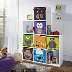 Altra - Altra 'Castlebrook' 7-Bin Kids' Bookcase - Store all of your child's books on this modern wooden bookcase. This bookcase features removable castle tops and a contemporary white finish. This piece will also brighten up the room with its distinctive bin animal pattern adornments.