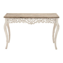 Appealing Wood Carved Console Table - Description: