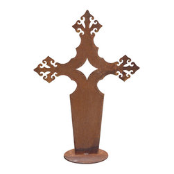 Z Garden Party, Inc. - Gothic Cross large Garden Sculpture - Our traditional large Gothic Cross garden sculpture is a beautiful addition for any home or garden. It is hand made from heavy rusted steel in the USA. This is an original design by California artist Susan Regert.