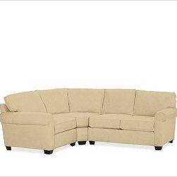 "Buchanan Upholstered Right 3-Piece Small Sectional with Corner Wedge, Polyester - A distinctive curved shape lends contemporary style to our Buchanan Sectional while expanding space for relaxing and entertaining. 99"" w x 83"" d x 39"" d x 36.5"" h {{link path='pages/popups/PB-FG-Buchanan-3.html' class='popup' width='720' height='800'}}View the dimension diagram for more information{{/link}}. {{link path='pages/popups/PB-FG-Buchanan-5.html' class='popup' width='720' height='800'}}The fit & measuring guide should be read prior to placing your order{{/link}}. Polyester-wrapped cushions have a neat and tailored look. Proudly made in America, {{link path='/stylehouse/videos/videos/pbq_v36_rel.html?cm_sp=Video_PIP-_-PBQUALITY-_-SUTTER_STREET' class='popup' width='950' height='300'}}view video{{/link}}. For shipping and return information, click on the shipping info tab. When making your selection, see the Special Order fabrics below. {{link path='pages/popups/PB-FG-Buchanan-6.html' class='popup' width='720' height='800'}} Additional fabrics not shown below can be seen here{{/link}}. Please call 1.888.779.5176 to place your order for these additional fabrics."