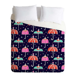 DENY Designs - DENY Designs Rebekah Ginda Design Night Shower Duvet Cover - Lightweight - Turn your basic, boring down comforter into the super stylish focal point of your bedroom. Our Lightweight Duvet is made from an ultra soft, lightweight woven polyester, ivory-colored top with a 100% polyester, ivory-colored bottom. They include a hidden zipper with interior corner ties to secure your comforter. It is comfy, fade-resistant, machine washable and custom printed for each and every customer. If you're looking for a heavier duvet option, be sure to check out our Luxe Duvets!