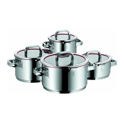 """WMF - WMF Function 4 8-Piece Cookware Set - Transtherm universal base ensures optimum heat distribution and retention, also suitable for induction hobsHigh quality 18""""ch/10""""ch stainless steel construction with a polished finishClear glass lid has red silicone trim and clear markings of the four distinct functions for precise straining and PouringInside measuring marksStay-cool handles"""" providing for a pleasant handlingMade in germany; Dishwasher safe.Versatile lid design has four positions that allow for full pour, wide strainer for pasta and veggies, fine strainer or steam release, or closedSet includes:     (01) High Casserole 2.0-qt.    (01) Low Casserole 2.6-qt.    (01) High Casserole 4.0-qt.    (01) High Casserole 6.0-qt."""