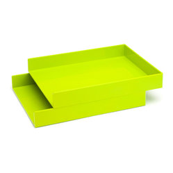 Poppin - Stackable Inboxes, Lime Green, Set Of 2 - Get shelter from incoming clutter bombs with this set of two stackable boxes. Each measures 12 1/2 by 9 3/4 by 1 3/4 inches, is finished in your choice of eye-popping colors in a lacquer-like finish and coordinates with other accessories in the same line. Stack up some tidy style points.