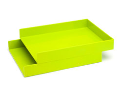 Poppin - Letter Trays, Set Of 2, Lime Green - Get shelter from incoming clutter bombs with this set of two stackable boxes. Each measures 12 1/2 by 9 3/4 by 1 3/4 inches, is finished in your choice of eye-popping colors in a lacquer-like finish and coordinates with other accessories in the same line. Stack up some tidy style points.