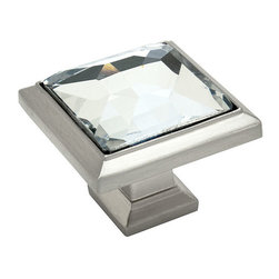 Cosmas - Cosmas 5883SN-C Satin Nickel & Clear Glass Square Cabinet Knob - This beautiful Cosmas square glass knob features a clear color and coordinating satin nickel base. Nothing on the market lasts longer or provides better value than Cosmas branded products.