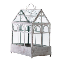 Kathy Kuo Home - White Wash Country Cottage Rustic Indoor Decorative Plant Terrarium - Few botanical items deliver so much satisfaction to stylish green thumbs as a terrarium.  Add traditional  greenhouse details  which would usually appear in grand French and English conservatories, and you have this charming piece.  On a sunny kitchen counter, this could be a portable herb garden - gorgeous!