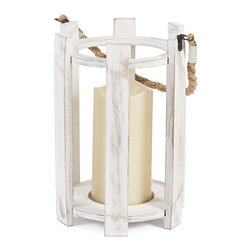 Elements - Elements Six Side Weathered White Wood Lantern - This Six Sided accent lantern from Elements stands nine inches high and offers a white finish with a weathered look. This accent has a rope handle,and is sure to add warmth and charm to any room.