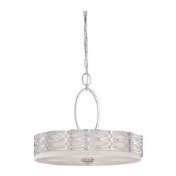 Nuvo - 4 Light - Pendant - Slate Gray Fabric Shade - Slate Gray Fabric Shade Shade. UL Dry Rated. Incandescent . Color/Finish: Polished  Nickel. Max wattage: 60w. Bulb(s) not included. 23.625 in. W x 20 in. H