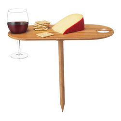 Contemporary  Wooden Wine Table - Enjoying wine in a beautiful park or on a warm beach while watching the sunset will increase pleasure, charming conversation and/or romance by 100%.