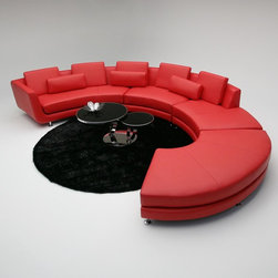 Contemporary Curved Sectional Sofa in Red Leather - Features: