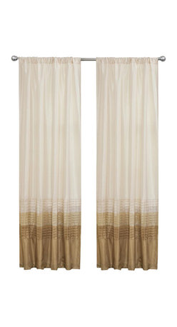 Lush Decor - Mia Beige Window Curtain - Set of 2 - Includes: 2 Window Panels. Fabric Content:100% Polyester. Color: Beige. Care Instruction: Dry clean. 54 in. x 84 in. Transform and brighten your room with this colorful faux silk window panel. The 3 colors blocks transition into each other with a series of 4 pleats giving the panel a clean and very finished look. There is a rod pocket for quick and easy installation.
