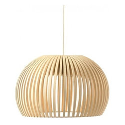 """Secto Design - Secto Design Atto 5000 pendant light - The Atto 5000 pendant lamp was designed by Seppo Koho and made by Secto Design in Finland. This beautiful lampshade is designed entirely by hand in Finland of Finnish birch by highly skilled craftsmen.  The shades are made of laminated birch slats connected by rings of aircraft plywood.  The following finish options are available: natural birch, white laminated birch and black laminated birch.  Winner of IF Product Design Award 2010.  Product Details: The Atto 5000 pendant lamp was designed by Seppo Koho and made by Secto Design in Finland. This beautiful lampshade is designed entirely by hand in Finland of Finnish birch by highly skilled craftsmen.  The shades are made of laminated birch slats connected by rings of aircraft plywood.  The following finish options are available: natural birch, white laminated birch and black laminated birch.  Winner of IF Product Design Award 2010. Details:                                     Manufacturer:                                      Secto                                                     Designer:                                     Seppo Koho                                                     Made in:                                     Finland                                                     Dimensions:                                      Height: 8.3"""" (21 cm) X Diameter: 13"""" (34 cm) X Cable L: 71"""" (180 cm)                                                     Light bulb:                                      1 X  16W 2D 4 pin compact fluorescent  (included)                                                     Material:                                      Birch Wood"""