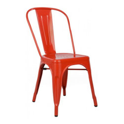 Poly + Bark - Tolix Style Bistro A Chair, Red - A striking piece of industrial design, the Bistro A Chair was inspired by Xavier Pauchard. Comfortable and stylish, the seat is made of iron, powder-coated in your choice of color.