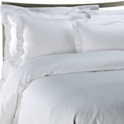 Palais Royale - Palais Royale Hotel Collection Duvet Cover in White Stripe - The soft feel and elegant look of this versatile duvet cover is a great addition to your bed. Its anti-crease finish reduces wrinkles, keeping your bed crisp and neat looking for a designer's effect.