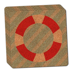 """Made on Terra - Nautical Lifesaver Thin Cork Coaster Set of 4 - You're just cleaning up after your epic party when you realize it... something's different. Unlike all those other times, you're not mopping up cup condensation from your counters and tables. This time, everyone used a coaster. Everyone. Maybe it's because you handed out a coaster with every glass. No. You've tried that before. No, this time it's because of the actual coasters. You found the cutest Made On Terra printed cork coasters. You love that everyone commented on how unique they were,  from the light-weight, thin cork material to the printing that creates a cool and subtle effect. Plus, they're really absorbent, but dry quickly. And they're made from an eco-friendly, sustainable resource, so that makes you feel pretty great, too. Choose from Made on Terra's many fabulous cork coasters. Measures 4"""" x 4"""" x 1/8"""". Made of thin cork. Super cute and nicely absorbent. Sold in sets of four."""
