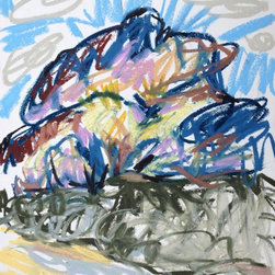 Kenyon 2 - Oil Pastel on Paper - A beautiful mountain looms on the near horizon in this original oil pastel on paper.