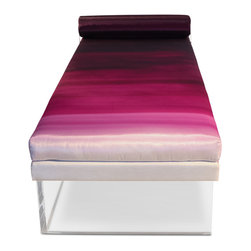 """Levitating Daybed - Ombre - The Levitating Daybed is a unique and functional stylistic statement. Upholstered in our Recovered Ombre fabric designed exclusively for the Recovered Interior Collection. Offering four striking color combinations in Fuchsia, Blue, Gray or Green. A twist of sophistication comes from the antiqued chain connecting the bolster pillow to the base of the daybed. In deliberate contrast, the crystal-like acrylic base gives a sense of visual lightness. DIMENSIONS: 70"""" x 32"""" x 19"""" H bolster headrest 6-1/2"""" in diameter - See more at: http://recoveredinterior.com/shop/levitating-daybed-ombre.html#sthash.hpKGWGYR.dpuf"""