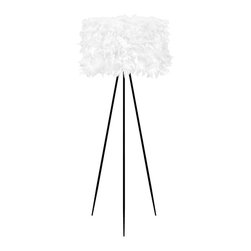 """Lamps Plus - Contemporary Black Tripod Floor Lamp with White Faux Feather Shade - This eco-friendly design features gorgeous realistic white faux feathers that stand out against the black finish tripod base. Perfect for accenting the bedroom or living room. Metal base. Black finish. White faux feathers. Takes one 40 watt maximum standard bulb (not included). Foot switch. 61 3/4"""" high. Shade is 23"""" wide. Base is 29"""" wide.  Metal base.   Black finish.   White faux feather shade.   Takes one 40 watt maximum standard bulb (not included).   On/off foot switch.   61 3/4"""" high.   Shade is 23"""" wide.   29"""" footprint."""
