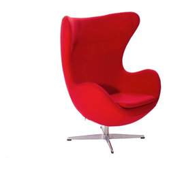 Arne Jacobsen Style Wool Egg Chair - Embracing the organic, timeless shape, of one of nature's most proportional creations, Arne Jacobsen's iconic Egg Chair has harmonized a sensuous, aesthetic form with comfort and functionality. Purpose built for the lobby of the Royal Hotel in Copenhagen in 1958, its influential design has celebrated more than 50 years of pioneering the aesthetics of Modernism. The unique retro construction of this inspirational product has established the Egg Chair as a significant contribution to Nordic design heritage. Sheltered for privacy, its cozy structure integrates the surroundings, making it the focal point of any style-led space. Acting on its iconic image, the Egg Chair has been featured in memorable film productions and has a significant role in the 6th book of the Hitchhiker's Guide to the Galaxy.