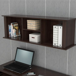 Inval America LLC - Inval Espresso Wall Mounted Hutch - Add needed shelf space to your home or office with this handy wall-mounted hutch. The fixture features an attractive espresso finish and two shelves with storage on either side for books,knickknacks,and other items worthy of display.