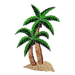 Glass Tile Oasis - Large Multi Color Twin Palms Pool Accents Multi Color Pool Glossy Ceramic - We offer six lines of in-stock designs ready for immediate delivery including: The Aquatic Line, The Shadow Line, The Hang 10 Line, The Medallion Line, The Garden Line and The Peanuts Line. All of the mosaics are frost proof, maintenance free and guaranteed for life. Our Aquatic Line includes: mosaic dolphins, mosaic turtles, mosaic tropical and sport fish, mosaic crabs and lobsters, mosaic mermaids, and other mosaic sea creatures such as starfish, octopus, sandollars, sailfish, marlin and sharks. For added three dimensional realism, the Shadow Line must be seen to be believed. Our Garden Line features mosaic geckos, mosaic hibiscus, mosaic palm tree, mosaic sun, mosaic parrot and many more. Put Snoopy and the gang in your pool or bathroom with the Peanuts Line. Hang Ten line is a beach and surfing themed line featuring mosaic flip flops, mosaic bikini, mosaic board shorts, mosaic footprints and much more. Select the centerpiece of your new pool from the Medallion Line featuring classic design elements such as Greek key and wave elements in elegant medallion mosaic designs.