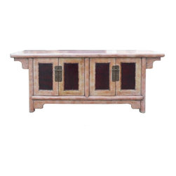 Golden Lotus - Pinkish Purple Lacquer Low TV Stand Cabinet - This is a low cabinet that can be used as a bench, low TV stand cabinet. The surface lacquer mixed pinkish purple color.