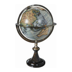 Authentic Models - Authentic Models Globe Stand With Globe - Utilizing the complicated Gravure printing process results in sharp clear lines and details on even the smallest globes. All of our globes are made using original period charts researched for historical accuracy. Our Classic Vaugondy French globe is made of wood bronze paper and plastic. Engraved latitude degrees in original typeface Bronze hardware and hand tooled equator and pole rings. Multi color. Size is 24.0 inches tall by 15.75 inches in diameter.