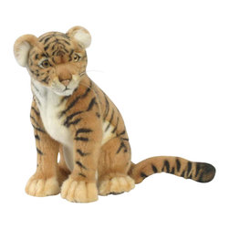 Hansa - Hansa Tiger Cub - This tiger is a fantastic piece. Hansa Tiger is sitting down and is made from orange, black and white plush. Tiger has orange and black eyes, a light pink nose and whiskers. Ages 3 and up. Handmade. Hansa Toys is known worldwide for their realistic, stuffed plush, life like creations and life size realistic animals.