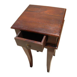 Solid Wood 1 Drawer End Table Night Side Stand Table - Solid Hardwood Square End Table with French style legs. This great table has a simple design that will look great in any room.