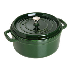 Staub - Staub Round Cocotte, 4 Qt., Basil - Whether you're making a hearty soup or braising a favorite cut of meat, a cast iron pot is a must-have for the modern kitchen. The unique lid features self-basting spikes that continuously redistributes juices throughout your dish. Pick from four sizes and eight sophisticated colors to complement your kitchen decor.