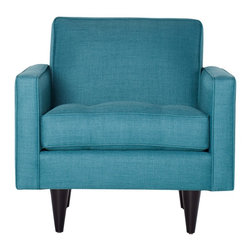 APT2B - The Monroe Chair, Ocean Blue - With a Mad Men-esque silhouette, The Monroe is a perfect way to add a hip factor to any room. The clean lines and simple shape make it perfect for any small space. It packs a big punch without taking up a lot of square footage. Each piece is expertly handmade to order in the USA and takes around 2-3 weeks in production. Features a solid hardwood frame and upholstered in a 100% polyester fabric.
