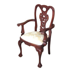 MBW Furniture - Solid Mahogany Chippendale Carved Floral Occasional Arm Chair - This is a beautiful solid mahogany Chippendale occasional arm chair. It features a gorgeous solid mahogany frame that is richly embellished with hand carved foliage and scrolls designs on its distinguished pierced back. It also has elegant curved arm rests and lovely shaped cabriole legs with traditional claw & ball feet. The seat is comfortable and it is upholstered with a lovely golden fabric that has floral designs. This chair is a showroom model and may have some minor imperfections but as shown it is overall in very good condition. It is shipped assembled.