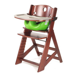 """Keekaroo - Keekaroo Height Right High Chair Mahogany with Lime Infant Insert and Tray Brown - Shop for Highchairs from Hayneedle.com! The Keekaroo Height Right High Chair Mahogany with Lime Infant Insert and Tray is one cushy chair! Your child won't want to leave the table. This versatile chair provides the safety and comfort you're looking for yet adapts as your child grows. Made from environmentally friendly Rubberwood this sturdily designed chair holds up to 250 pounds and will be your child's favorite seat for years to come. The included BPA- and latex-free Infant Insert and 3-point harness ensures a safe seat for your child under 3 years old. When mealtime is over simply wipe the chair and insert down with warm soapy water. The insert's outer layer is impermeable to liquids and offers antimicrobial protection. The plastic tray cover is BPA-free and dishwasher safe. Five year manufacturer's warranty. Assembly required. The Beauty and Benefits of RubberwoodHailing from the maple family of trees the rubber tree is used in the manufacture of high-end furniture. This durable Asian hardwood is valued for its dense grain minimal shrinkage attractive color and acceptance of different finishes. It is also prized as an """"environmentally friendly"""" wood as it makes use of trees that have been cut down at the end of their latex-producing cycle. About KeekarooKeekaroo high chairs and accessories were the brainchild of a father devoted to making better safer furniture for his own children. Rethinking size shape and support from the perspective of a parent owner Tom Bergeron tapped the creativity and insights of his own children to create the most innovative line of high chairs and accessories available. Each offers a more comfortable seating experience grows with your child and has an easy-to-clean surface for Mom and Dad."""