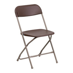 Flash Furniture - Flash Furniture Hercules Premium Plastic Folding Chair in Brown - Flash Furniture - Folding Chairs - LEL3BROWNGG - Plastic folding chairs are the choice of many event planners for their lightweight design ease of cleaning and versatility among events.
