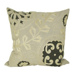 Design Accents Alice Pillow - Green - Light and elegant. The Design Accents Alice Pillow - Green lends feminine appeal with stunning green highlights. High-quality cotton construction in a subtle beige color ensures lasting beauty. Its hand-embroidered floral design adds an appealing accent to your sofa, chair, or bed.