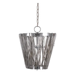 Ro Sham Beaux Charlotte Pendant - Ro Sham Beaux Charlotte PendantThe Charlotte shines with artistic flair and an urban vibe in a modern inverted lamp design and silver finish.Material: Metal, Hemp