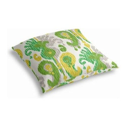 Green Ikat Custom Outdoor Floor Pillow - Pick up a Simple Outdoor Floor Pillow for your next shindig under the sun. Perfect for an outdoor picnic or Moroccan style cabana party. We love it in this oversized outdoor ikat that will make a big (literally!) splash in clean, bright shades of green, yellow and gray.
