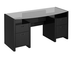kathy ireland by Bush - New York Skyline 63 Bow-front Double Pedestal Executive Desk - Bring stylish elegance and designer quality to your office with this New York Skyline Modern Mocha bow-front desk from Kathy Ireland Office by Bush Furniture. The tempered glass-top is reversible allowing use in center of room or against a wall. Two box drawers for supplies and two hanging file drawers keep you organized. Beautiful jewelry style hardware creates a striking contrast. Assembly is fast and easy with Bush Furnitures Quick-to-Assemble technology. Features: -Fully reversible top for flexible use.-Quick-to-Assemble technology.-Two box drawers and two hanging file drawers.-Advanced wire-management.-Jewelry style hardware.-Rounded edges for safety.-Soft-close hinges.-Hand selected hardwoods and engineered wood panels.-Distressed: No.-Collection: New York Skyline.Dimensions: -Overall Product Weight: 61 lbs.Warranty: -3 year manufacturer's warranty.