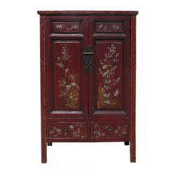 Golden Lotus - Vintage Chinese Flower Bird Graphic Accent Armoire - This is a Southern Chinese Fujian style armoire cabinet with old Chinese brown red base color and off white golden color graphic on the front surface. It is an accent piece for home decoration and furnishing.