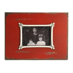 Zentique - Wooden Photo Frame by Zentique - The simplicity of this distressed red wood frame by Zentique will not compete with a favorite photo. The arched photo border is appointed with just the right amount of accenting on each corner allowing your corner to be the focus. (ZEN)
