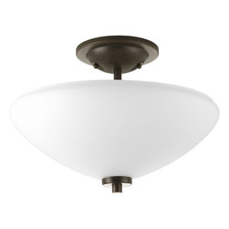 Progress Lighting - Progress Lighting P3550-77 2-Light Semi-Flush with Opal Etched Glass Bowl - Progress Lighting P3550-77 2-Light Semi-Flush with Opal Etched Glass Bowl